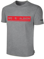 ALBION RIVERSIDE BASICS TEE SHIRT W/ RED WE R ALBION BOX LOGO CENTER FRONT CHEST LIGHT HTH GREY