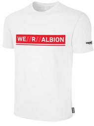 ALBION RIVERSIDE BASICS TEE SHIRT W/ RED WE R ALBION BOX LOGO CENTER FRONT CHEST WHITE