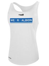 ALBION RIVERSIDE BASICS RACERBACK TANK W/ BLUE WE R ALBION BOX LOGO CENTER FRONT CHEST WHITE