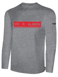 ALBION RIVERSIDE BASICS LONG SLEEVE TEE SHIRT W/ RED WE R ALBION BOX LOGO CENTER FRONT CHEST LIGHT HTH GREY