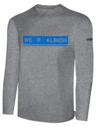 ALBION RIVERSIDE BASICS LONG SLEEVE TEE SHIRT W/ BLUE WE R ALBION BOX LOGO CENTER FRONT CHEST LIGHT HTH GREY