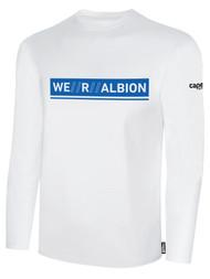 ALBION RIVERSIDE BASICS LONG SLEEVE TEE SHIRT W/ BLUE WE R ALBION BOX LOGO CENTER FRONT CHEST WHITE