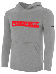ALBION RIVERSIDE BASICS FLEECE PULLOVER HOODIE W/ RED WE R ALBION BOX LOGO CENTER FRONT CHEST LIGHT HTH GREY