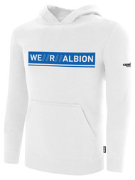 ALBION RIVERSIDE BASICS FLEECE PULLOVER HOODIE W/ BLUE WE R ALBION BOX LOGO CENTER FRONT CHEST WHITE