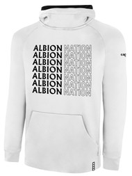 ALBION RIVERSIDE LIFESTYLE THERMA FLEECE HOODIE CENTER FRONT CHEST ALBION NATION GRID LOGO WHITE BLACK