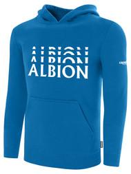 ALBION RIVERSIDE BASICS FLEECE PULLOVER HOODIE CENTER FRONT CHEST WHITE ALBION LOGO ALBION BLUE WHITE