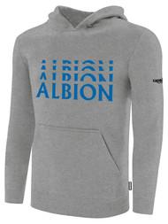 ALBION RIVERSIDE BASICS FLEECE PULLOVER HOODIE CENTER FRONT CHEST BLUE ALBION LOGO LIGHT HTH GREY ALBION BLUE