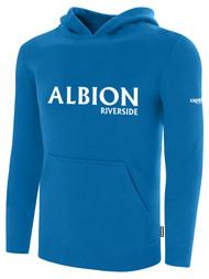 ALBION RIVERSIDE BASICS FLEECE PULLOVER HOODIE CENTER FRONT CHEST WHITE ALBION IDAHO LOGO ALBION BLUE WHITE