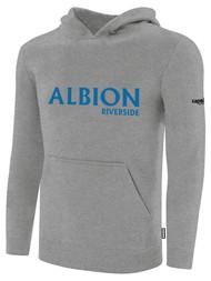 ALBION RIVERSIDE BASICS FLEECE PULLOVER HOODIE CENTER FRONT CHEST BLUE ALBION IDAHO LOGO LIGHT HTH GREY ALBION BLUE