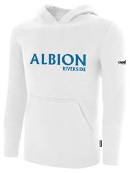 ALBION RIVERSIDE BASICS FLEECE PULLOVER HOODIE CENTER FRONT CHEST BLUE ALBION IDAHO LOGO WHITE ALBION BLUE