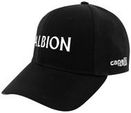 ALBION RIVERSIDE CS TEAM BASEBALL CAP CENTER FRONT WHITE ALBION TEXT LOGO BLACK WHITE