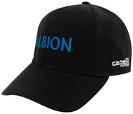 ALBION RIVERSIDE CS TEAM BASEBALL CAP CENTER FRONT BLUE ALBION TEXT LOGO BLACK WHITE