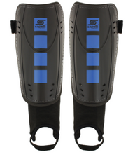 FOUR CUBES SHIN GUARD WITH ANKLE STRAP  --    BLACK PROMO BLUE