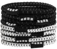 DELMARVA 8 PACK NO SLIP ELASTIC PONY HOLDERS BLACK WHITE
