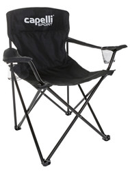 DELMARVA FOLDING SOCCER CHAIR WITH CUP HOLDERS AND CARRYING CASE -- BLACK WHITE
