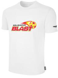 DELMARVA BLAST BASIC SHORT SLEEVE COTTON T-SHIRT CREST ON WEARERS CENTER CHEST WHITE BLACK