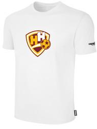 HADDON HEIGHTS SC CS BASICS SHORT SLEEVE COTTON T-SHIRT LARGE CREST ON WEARERS CENTER CHEST WHITE BLACK
