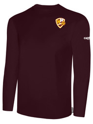 HADDON HEIGHTS SC LONG SLEEVE COTTON T-SHIRT CREST LEFT CHEST MAROON WHITE