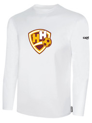 HADDON HEIGHTS SC LONG SLEEVE COTTON T-SHIRT LARGE CREST CENTER CHEST WHITE BLACK