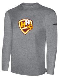 HADDON HEIGHTS SC LONG SLEEVE COTTON T-SHIRT LARGE CREST CENTER CHEST LIGHT HEATHER GREY BLACK