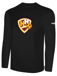 HADDON HEIGHTS SC LONG SLEEVE COTTON T-SHIRT LARGE CREST CENTER CHEST BLACK WHITE
