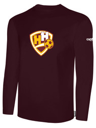 HADDON HEIGHTS SC LONG SLEEVE COTTON T-SHIRT LARGE CREST CENTER CHEST MAROON WHITE