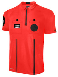 OFFICIAL REFEREE SHORT SLEEVE   JERSEY  WITH ZIPPER REFEREE RED BLACK - MSRP