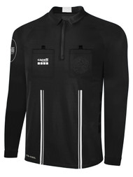 OFFICIAL REFEREE LONG SLEEVE  JERSEY  WITH  ZIPPER BLACK WHITE - MSRP