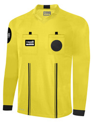 OFFICIAL REFEREE V-NECK  LONG  SLEEVE JERSEY REFEREE YELLOW BLACK - MSRP
