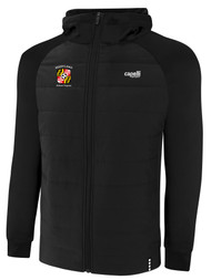 REFEREE BASICS THERMA FLEECE WOVEN FRONT ZIP UP HOODIE BLACK WHITE - MSRP