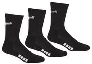 REFEREE         BASICS ULTRA COMFORT 3 PACK CREW SOCKS BLACK WHITE-MSRP