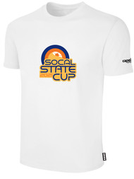SOCAL STATE CUP SHORT SLEEVE COTTON T-SHIRT WHITE BLACK ORANGE LOGO CENTER CHEST