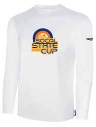 SOCAL STATE CUP LONG SLEEVE COTTON T-SHIRT WHITE BLACK ORANGE LOGO CENTER CHEST