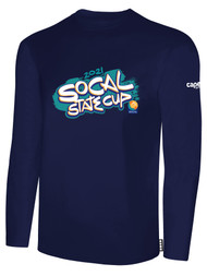 SOCAL STATE CUP LONG SLEEVE COTTON T-SHIRT NAVY WHITE TEAL ORANGE LOGO CENTER CHEST