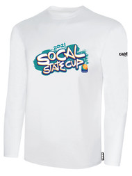 SOCAL STATE CUP LONG SLEEVE COTTON T-SHIRT WHITE TEAL ORANGE LOGO CENTER CHEST