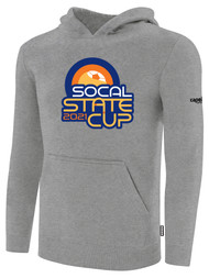 SOCAL STATE CUP FLEECE PULLOVER HOODIE LIGHT HEATHER GREY BLACK LOGO CENTER CHEST