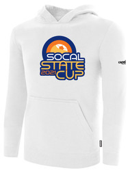 SOCAL STATE CUP FLEECE PULLOVER HOODIE WHITE BLACK LOGO CENTER CHEST