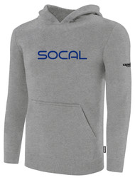 SOCAL STATE CUP FLEECE PULLOVER HOODIE LIGHT HEATHER GREY BLACK TEAL TEXT LOGO CENTER CHEST