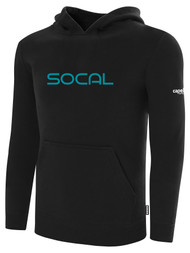 SOCAL STATE CUP FLEECE PULLOVER HOODIE BLACK WHITE TEAL TEXT LOGO CENTER CHEST