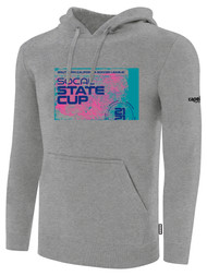 SOCAL STATE CUP FLEECE PULLOVER HOODIE LIGHT HEATHER GREY BLACK PINK TEAL LOGO CENTER CHEST