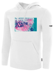 SOCAL STATE CUP FLEECE PULLOVER HOODIE WHITE BLACK PINK TEAL LOGO CENTER CHEST