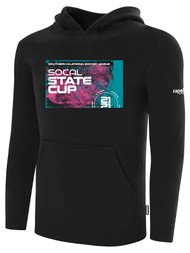 SOCAL STATE CUP FLEECE PULLOVER HOODIE BLACK WHITE PINK TEAL LOGO CENTER CHEST
