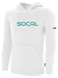 SOCAL STATE CUP FLEECE PULLOVER HOODIE WHITE BLACK  TEAL TEXT LOGO CENTER CHEST