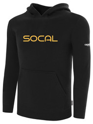 SOCAL STATE CUP FLEECE PULLOVER HOODIE BLACK WHITE ORANGE TEXT LOGO CENTER CHEST