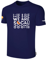 SOCAL SHORT SLEEVE COTTON T-SHIRT NAVY WHITE   REAPEATED TEXT LOGO CENTER CHEST