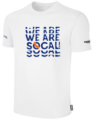 SOCAL SHORT SLEEVE COTTON T-SHIRT WHITE   BLACK REAPEATED TEXT LOGO CENTER CHEST