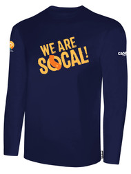 SOCAL LONG SLEEVE COTTON T-SHIRT NAVY WHITE   WE ARE SOCAL LOGO CENTER CHEST