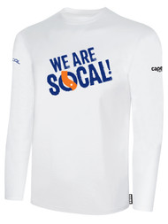 SOCAL LONG SLEEVE COTTON T-SHIRT WHITE BLACK  WE ARE SOCAL LOGO CENTER CHEST