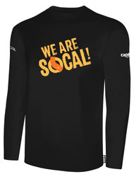SOCAL LONG SLEEVE COTTON T-SHIRT BLACK  WHITE WE ARE SOCAL LOGO CENTER CHEST