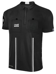 OFFICIAL  REFEREE  SHORT SLEEVE JERSEY WITH ZIPPER BLACK WHITE - CSRP